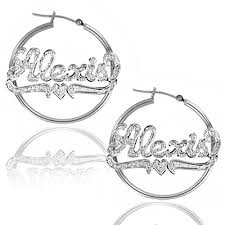 personalized earrings personalized name hoop earrings in white gold rhodium with heart