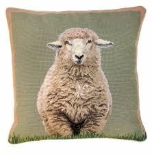 ncu 785 standing sheep 18 x18 needlepoint pillow