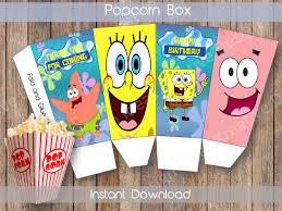 spongebob small popcorn box printable spongebob popcorn box spongebob small popcorn box printable spongebob popcorn box spongebob birthday theme spongebob instant download by kreativedesignideas