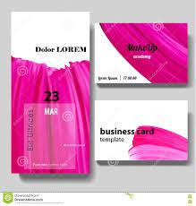 makeup artist business card invitation template stock