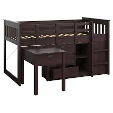 Espresso Desk With Hutch Corliving Madison Twin Loft Bed With Desk And Storage Hayneedle