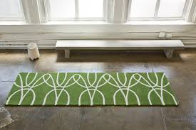 Green Runner Rug District17 Ribbon Runner Rug In Green And White Patterned Rugs