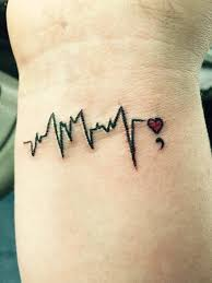 heartbeat and semicolon tattoo on wrist i love the red heart