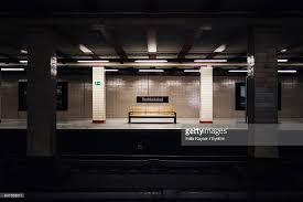 bench berlin empty bench at berlin nordbahnhof station platform stock photo