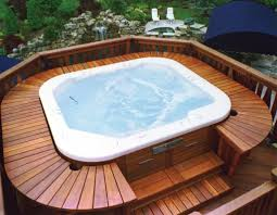 small tub for relaxation time on backyard deck backyard deck