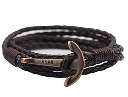 fashion anchor bracelet images Brown leather anchor bracelet for men and women jpg