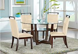 Espresso Dining Room Set by Espresso 5 Pc Dining Set With Cream Chairs Round Contemporary