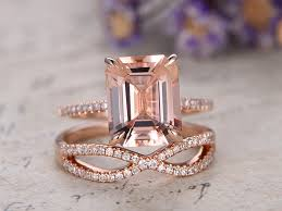 gold and morganite engagement rings gold morganite engagement ring bridal set 8x10mm