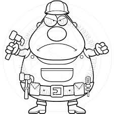 angry handyman black and white line art by cory thoman toon