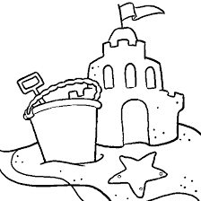 Drawing Beach Vacation A Sand Castle Summer Coloring To Print Sandcastle Coloring Page