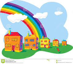 houses and rainbow royalty free stock photos image 26319018