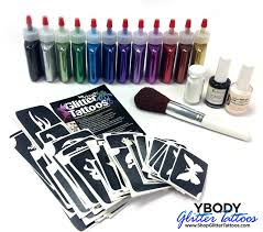 ybody pro kit metallic glitter poof bottles u0026 100 stencil set
