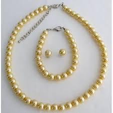yellow pearl bracelet images Pearl bridesmaid jewelry set necklace earrings bracelet set jpg