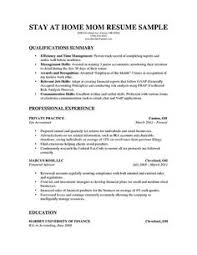 Sample Work Experience Resume by A Stay At Home Mom Resume Sample For Parents With Only A Little