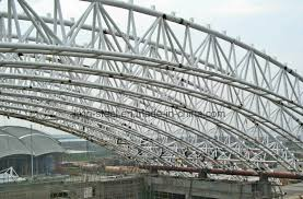 china prefabricated steel structure roof round tube truss