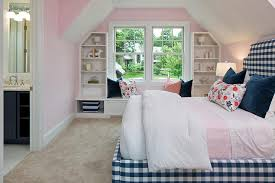 Window Seat Bookshelves Pink And Blue Bedroom With Blue Gingham Bed And Pink Bedding