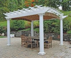 arched top freestanding shade pergola kit with round columns from