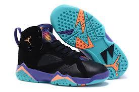 kid jordans kids air 7 retro shoes black blue yellow 74971 55