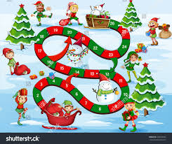christmas themed board game numbers stock vector 228932683