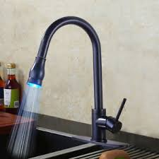 Kitchen Faucet Plate Rubbed Bronze Kitchen Faucet Led Pull Out Spray Sink Mixer Tap