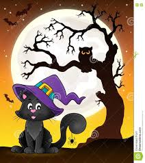 tree silhouette and halloween cat stock vector image 77912091