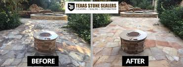 Stone Patio With Fire Pit Before U0026 After Pictures Texas Stone Sealers Project Gallery