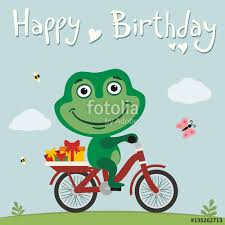 happy birthday funny frog on bike with gifts birthday card with