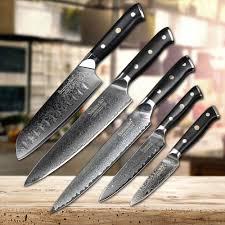 couteau japonais cuisine sunnecko 5 pcs couteau de cuisine ensemble trancheuse chef couteau