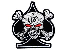 ace of spades skull 13 biker iron on sew on patch 3 1 8 2cm