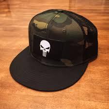 American Flag Flat Bill Hat Punisher Camo Trucker Hat With Black Bill Snapback Flat Bill