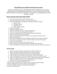 marine biology 2014 cumulative final exam review sheet note