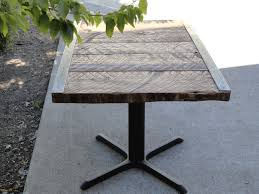 restaurant dining table steel angle iron reclaimed antique