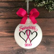 breast cancer ornament christmas ornament pink ribbon