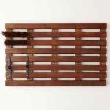 wooden slat doormat with shoe scraper and bristle brush the