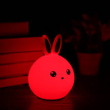 colorful rabbit silicone lamp rechargeable led light cute night