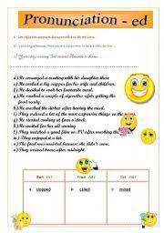 english worksheet simple past regular verbs pronunciation