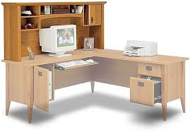 Bush Desk With Hutch Wc91317 Hutch For L Desk Mission Pointe Collection Planked Maple