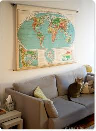 livingroom world awesome vintage classroom pull map in living room