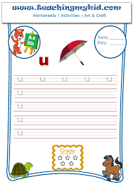 english worksheets for kids write single lower letter u
