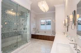 White Carrera Marble Bathroom - contemporary master bathroom with complex marble tile floors