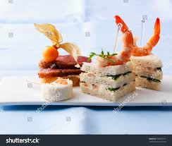 canapes with prawns canapes prawns duck breast filet on stock photo edit now