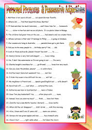 Personal And Possessive Pronouns Worksheet Personal Pronouns And Possessive Adjectives Worksheet Free Esl