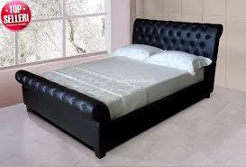 Chesterfield Sleigh Bed Black Carrington Chesterfield Sleigh Bed 6ft Super Kingsize