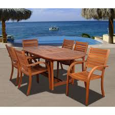 amazonia arizona oval 7 piece eucalyptus patio dining set