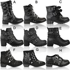 ankle boots uk ebay womens studded flat ankle boots spikes biker chunky