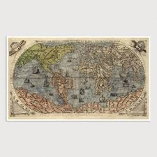 antique map world world antique map print 1565 blue monocle