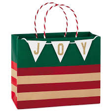 christmas gift bag stripes kraft with banner medium christmas gift bag 7 75