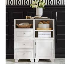 Bathroom Floor Storage Cabinets White Modular Floor Storage Pottery Barn