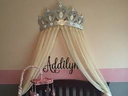 Bed Canopy Crown Bed Canopy Crown Wall Decor In Silver With White Sheer Panels