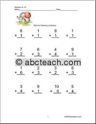 addition addition to 10 worksheets free math worksheets for